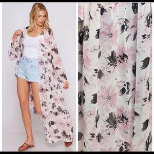 Ivory & Pink Floral Kimono